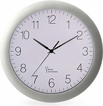 Wall Clock 30 cm White and Sliver - Perel