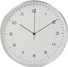 Wall Clock 30 cm White and Sliver - White - Perel
