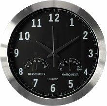 Wall Clock 35.5 cm Black and Silver - Perel