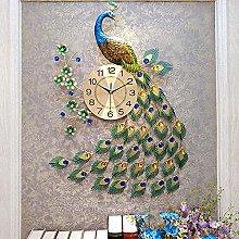 Wall Clock 3D Diamonds Peacock Non Ticking Silent