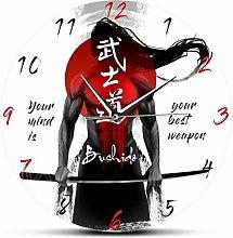 Wall Clock 3D Samurai With Katana Sword