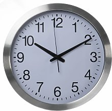 Wall Clock 40 cm White and Sliver - Perel