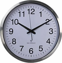Wall Clock 50 cm White and Sliver - Perel