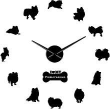 Wall Clock Adorable Pomeranian Spitz Dog Shaped 3D