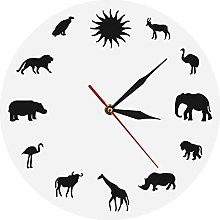Wall Clock African Animals Silhouette Wall Clock
