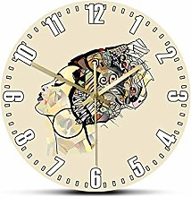 Wall Clock African Woman Portrait With Hat Black