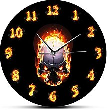 Wall Clock Angry Demon Skull In Fire And Burning