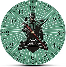 Wall Clock Army Combat Solider With Rifle