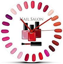 Wall Clock Beauty Salon Nail Polish Palette Bottle