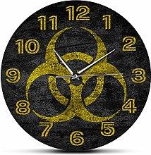 Wall Clock Biohazard Symbol Silent Non-Ticking