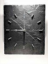Wall clock. Black Grey New Slate Quartz