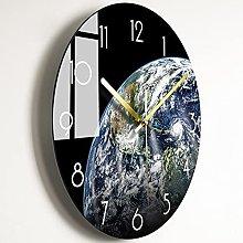 Wall Clock Black Space Bedroom Glass Wall Clock