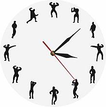 Wall Clock Bodybuilders Minimalist Design Gym Wall