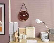 Wall Clock Brown MDF Faux Leather Vintage Design