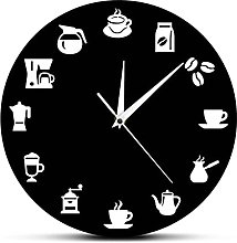 Wall Clock Coffee Bar Coffee Beans Cup Wall Clock