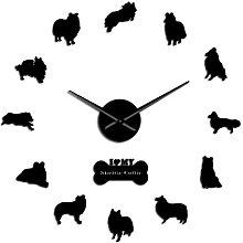 Wall Clock Collie Dog Breed Mute Quartz Diy Wall