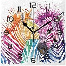Wall Clock Colorful Animal Zebra Print Decorative