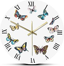Wall Clock Colorful Butterflies With Roman