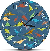 Wall Clock Colorful Dinosaur With Numbers