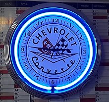 Wall Clock Corvette C2 Sign WALLCLOCK Blue NEON
