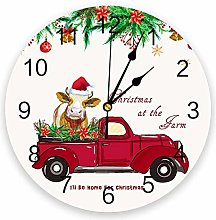 Wall clock Country Style Christmas Farm Truck Cow