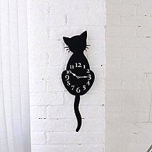 Wall Clock Cute Cat Tail Creative Cartoon Move For