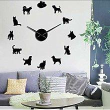 Wall clock Cute Dog and Cat DIY Giant Wall Clock