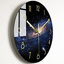 Wall Clock Dark Blue Galaxy Bedroom Glass Wall