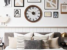Wall Clock Dark Wood Round ø 54 cm Handmade Black