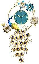 Wall Clock Decor,102 * 62CM Peacock Wall Clock for