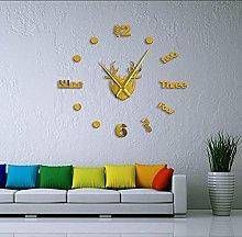 Wall clock Deer Elk Head DIY Mirror Stickers