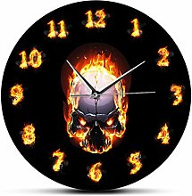 Wall Clock Demon Skull In Fire With Burning