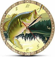 Wall Clock Design It'S Fisherman Man Cave Bass