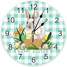 Wall clock Easter Bunny Egg Teal Green Plaid PVC