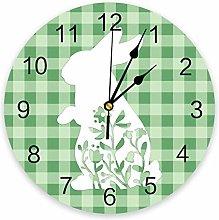 Wall clock Easter Green Plaid Bunny PVC Wall Clock
