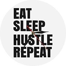 Wall Clock Eat Sleep Hustle Repeat Motivational