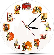 Wall Clock Fireman At Work Fire & Rescue Wall Art