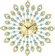 Wall Clock for Living Room Decor,Crystal Peacock