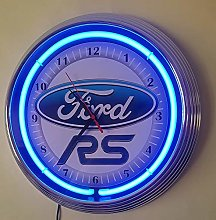 WALL CLOCK Ford RS WORKING WITH BLUE NEON RIM