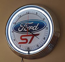 WALL CLOCK FORD ST WITH BLUE NEON RIM DIAMETER =15