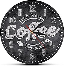 Wall Clock Fresh Brewed Coffee Enjoy A Cup Of Wall