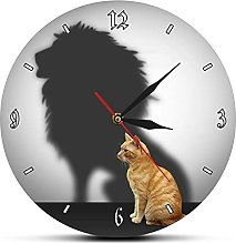 Wall Clock Funny Cat With Lion Shadow Conceptual