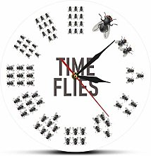Wall Clock Funny Flies Inspired Time Flies Wall
