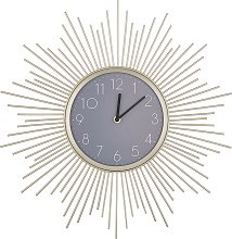 Wall Clock Glamour Gold and Grey Arabic Numerals