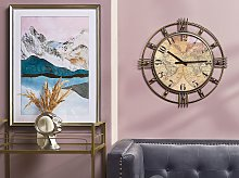 Wall Clock Gold Distressed Iron Frame Vintage