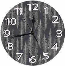 Wall Clock Gray Feather Desk Clocks Quiet