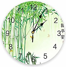 Wall Clock Green Bamboo Forest Butterfly Wall