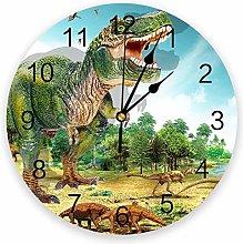 Wall Clock Green Forest Dinosaur Wall Clock
