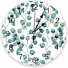 Wall Clock Green Leaves Branches Wall Clock