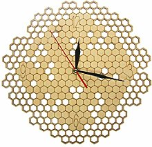 Wall Clock Honeycomb Wood Geometric Wall Clock